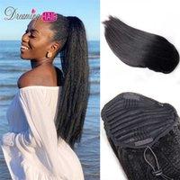 Italiana cordão grossa extensão de cabelo humano yaki kinky het right clip ins boloneiro para mulheres negras