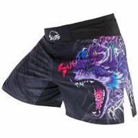 Suotf شرسة الذئب تنفس السراويل السراويل الملاكمة التايلاندية الملابس النمر الملاكمة التايلاندية الكيك بوكسينغ التدريب اللياقة ساندا الملاكمة قصيرة r8cp