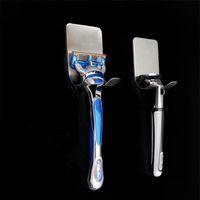 Stouge 1pc 304 Soporte de afeitar de acero inoxidable Hombres Afeitadora de afeitar estantería Shaving Razor Rack Baño Hogar Viscosa Ganchos de pared Percha