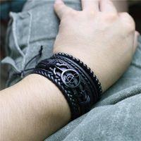 Charm Bracelets Black Music Note Feather Vintage Multilayer Leather Men Bracelet Braided Femme Homme Bead Wrap Women & Bangles Jewelry