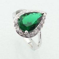 Wpaitkys капля воды модный зеленый кубический цирконий серебро цветное кольцо для женщин партии кристалл ювелирные изделия размер 6 7 8 9 10 бесплатная подарочная коробка