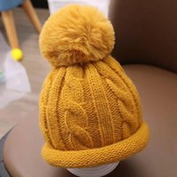 Caps & Hats Boys Girls Knitted Fashion Cute Ball Thick Hat Baby Lovely Accessories Children's Winter Kids Solid Knitting
