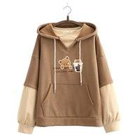 Women's Hoodies & Sweatshirts Fleece Harajuku Cartoon Bear Embroidery Casual Sweatshirt Women 2021 Winter Long Sleeve Patchwork Korean Style
