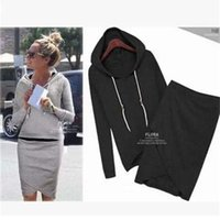 New Women Sweat Suit Pure Color Europe and America Long Sleeve Hooded Top + Irregular Tight Skirt Casual Two Pieces Sweater suit