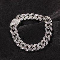 10.5mm Hip Hop Rock Bracelet Square CZ Stone Paved Solid Round Cuban Miami Link Chain Bangles For Men Rapper Jewelry Charm Bracelets