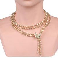 Collana classica in rilievo femminile perline per perle d'acqua dolce perline oro / colore nero foglia / farfalla ciondolo regolabile maglione regolabile catena lunga
