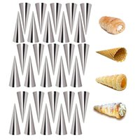 Baking & Pastry Tools 5 10pcs High Quality Conical Tube Cone Roll Moulds Stainless Steel Spiral Croissants Molds Cream Horn Cake Bread Mold
