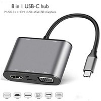 USB C Hub 8 In 1 Type C To HDMI-compatible VGA PD TF 3.5MM USB3.0 Usb2.0 HUB adapter for MacBookPro S8 S9 Huawei P20 P30