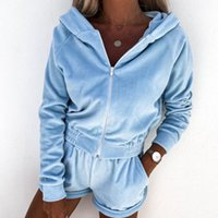 Women's Tracksuits 2021 Solid Shorts And Jacket Two Piece Set Women Casual Long Sleeve Coat Outwear Sweatershirt Tracksuit Sexy Sets Womens