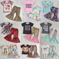 Venta al por mayor niños diseñador ropa niña conjuntos boutique bebé niñas ropa de manga corta pantalones inferiores pantalones de moda traje de moda niño niños niños niños trajes leche seda