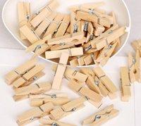 Roupa de roupa Armazenamento 50 pcs 3.5cm Natural roupas de madeira PO Papel prendedor de papel em clipes de madeira portátil