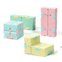 Cute Children Push Pop It Fidget Bubble Toys Kids Macarone's Infinite Cube Decompression Plastic Dice Pocket Unlimited Flip DWC7464