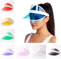 Pvc قبعة الشمس الصيف للجنسين الأطفال في الهواء الطلق شفافة فارغة أعلى قبعات الأشعة فوق البنفسجية قناع شمس غطاء الأزياء خارج حزب القبعات HH21-194