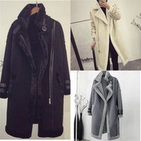 Lambs 2xl Plus Size Women Wool Coat Medium Long Thick Warm Shearling Coats Suede Leather Fur Jackets Autumn Winter HKL1