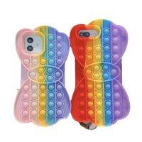 Party Favor Reliver Stress Pop Fidget Toy Push It Bubble case for iphone Antistress Sensory Game Cover