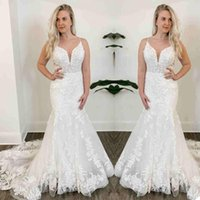 2021 Plus Size Mermaid Lace Wedding Gowns Sexy Spaghetti Straps Beaded Court Train Bridal Dress Backless Brides Marriage Vestidos De Novia Boho Garden AL9037