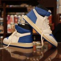 İndirim Travis Scott x Fragment jumpman 1 erkek basketbol ayakkabıları Yelken Siyah Askeri Mavi Pembe air jordan 1s Yüksek OG SP erkek kadın eğitmenler spor ayakkabı 36-46