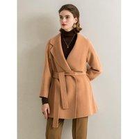 Women's Wool & Blends Elegant Long Coat Jacket Coffee Belt Fashion Outerwear Female Double Sided Cashmere Overcoat Autumn Winter 2021