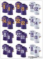 Homens mulheres juventude.Minnesota.Vikings.19 Adam Thielen Branco 8 Kirk Cousins Roxo 14 Stefon Diggs Jersey 22 Harrison Smith