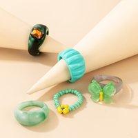 اليدوية والمجوهرات بالجملة 5 قطعة مجموعة الأزياء اليد الملحقات م الخرز زهرة الدائري الماس الاكريليك فراشة الراتنج الدائري