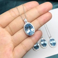 925 Sterling Silver OV 10x14mm Real Natural blue Aquamarine Topaz 18K White Gold Plated Pendant Necklace for Girl With Chain 210524