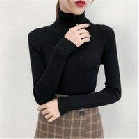 Women's Sweaters Bonjean Autumn Winter Knitted Jumper Tops Turtleneck Pullovers Casual Women Shirt Long Sleeve Tight Sweater Girls