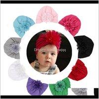 Saç Aksesuarları 10 adetgrup Bebek Kız Türban Şapka Şifon Çiçek Pamuk Karışımı Doğan Caps Beanie Üst Düğüm El Yapımı Şapka Doğum Günü Noel TJBap