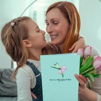 Greeting Cards 3D Mother's Day Up Card Dragonfly Paper Carving Invitations Postcards Heart-shaped Gifts H2D3 X1F1