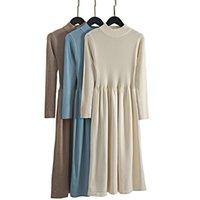 Повседневные платья Gigogou Office Дамы Длинные Вязаные Женщины Свитер Платье Толстая Теплый водолазник Плиссированная линия Осень Зимний Пуловер MIDI