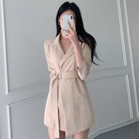 Spring Autumn Women's Suit Korean Style Collar Solid Color Long Sleeve Slim Female s GX442 210507
