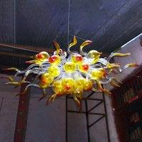 أنيقة ملطخة الفم في مهب الزجاج قلادة مصابيح 110V-240 فولت المصابيح الحديثة الفن ديكور الثريا الإضاءة للغرفة مخصصة 24 بوصة