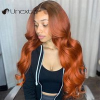 Unextar 13x4 Lace Front Human Hair Wigs Ombre Orange Ginger Colored Brazilian Wave Pre-Plucked For Women