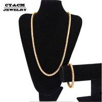 """Boucles d'oreilles Collier Cycm 5.5mm Mens Lady Gold Silver plaqué strass Hip-Hop Chain Tennis1 Règles Bling 30 """"8"""" Bracelet Ensemble de bijoux"""