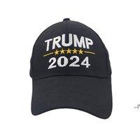2024 Трамп шляпа хлопок солнцезащитный крем бейсболка с регулируемыми пряжками вышивка буквами США крышка красный черный цвет открытый AHA5247