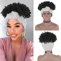 Synthetic Headband Wig Short Curly Afro Wigs for Black Women Wrap 2 In 1 High Puff Drawstring Ponytail Grey Kinky Curly Wigfactory direct