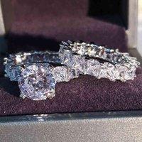 الفاخرة الصلبة 925 فضة خواتم الزفاف مجموعة ل الزفاف 2 قطع النساء خطوبة الذكرى هدية مجوهرات بالجملة R4869