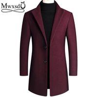 Men's Jackets Autumn Winter Mens Woolen Coat And Jacket Casual Wool Slim Collar Long Cotton Trench Coats
