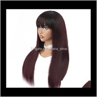 Products Drop Delivery 2021 1B 99J Ombre Wigs Bury Straight Human Hair Indian Remy Glueless Wig With Front Bang For Black Women Wine Red Colo