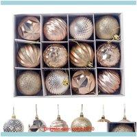 Decorations Festive Party Supplies & Garden12Pcs Christmas Ornament For Xmas Home Light Plastic Balls Decor One Barrel Ball Hanging Pendent