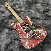 Top Sale White Relic Blanc Blanc Stripes Rouge 5150 St Electric Guitare Eddie Edward Van Halen Franken Stein Chine Guitars, Corps d'aulne, Cou d'érable, Floyd Rose Tremolo