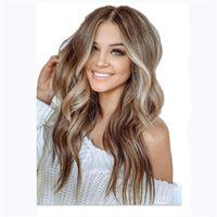 Women's long curly hair, medium split, big wave, gold coffee color, gradual change, chemical fiber wig, Headcover