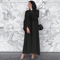 Etnik Giyim Eid Açık Abaya Dubai Türkiye Katı Düz Müslüman Hijab Elbise Abayas Kadınlar Için İslam Kaftan Robe Kimono Hırka De Moda Musulm