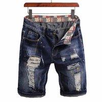 Mcikkny Men Summer Ripped Denim Shorts gewaschene verzweifelte Jeans für männliche Größe 28-40 Männer
