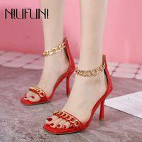 Квадратный носок Высокие каблуки открытые носки металлическая цепь женских сандалии красный черный размер 35-42 на молнии свадьба женщины обувь женщины сексуальное лето 210508