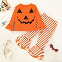 Toddler Baby Girls Halloween Clothing Sets Outfits Infant Christmas Pumpkin Pants Clothes Set Kids Tops Pant Suit