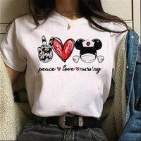 Peace Love Nursing Print Harajuku Women T Shirts Fashion Ulzzang Tee Cartoon Cute Female Graphic shirt