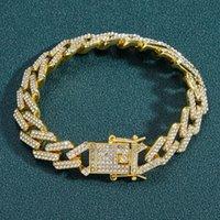 Link, Chain Hip Hop Cubic Zirconia Bracelet 14mm Bar Cuban Diamond-shaped Diamond Men's Fashion Accessories