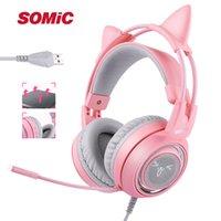 Somic g951 cor-de-rosa gato fones de ouvido virtual 7.1 barulho cancelamento de ruído auscultadores vibração levou USB fone de ouvido fone de ouvido para pc