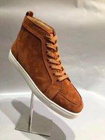 Paris Kırmızı Alt Düşük Kesim Spike Adam Homme Rantu Orlato Flats Ayakkabı Erkekler Kadınlar Için Deri Sneakers Rahat Ayakkabı Kahverengi Süet Deriler