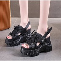 Super High Heels Women Sandals Thick Bottom Wedge Platform Shoes Summer Casual Lace up Ladies Sandalies 2021 Buckle Strap Female